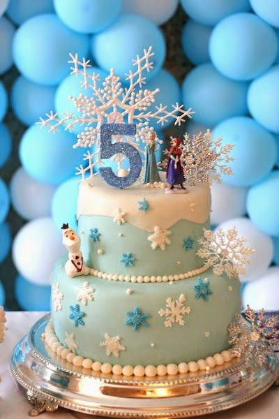 Snowflakes Ana Elsa and Olaf Frozen Birthday Cake  – Maria's 5