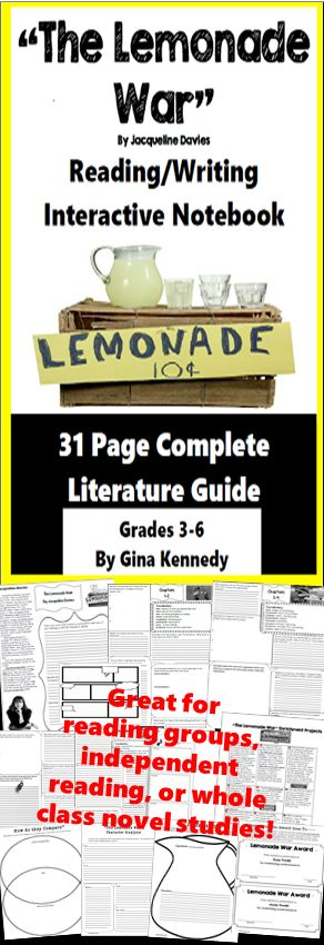 """No-Prep """"The Lemonade War"""" standards based interactive notebook literature guide with follow-up """"The Lemonade War"""" reading response questions for every chapter. As well as thought provoking questions for every chapter you will find """"The Lemonade War"""" vocabulary, activities and enrichment projects! Teacher friendly engaging novel study to use with this award winning novel by Jacqueline Davies in your classroom while encouraging critical reading skills.$"""