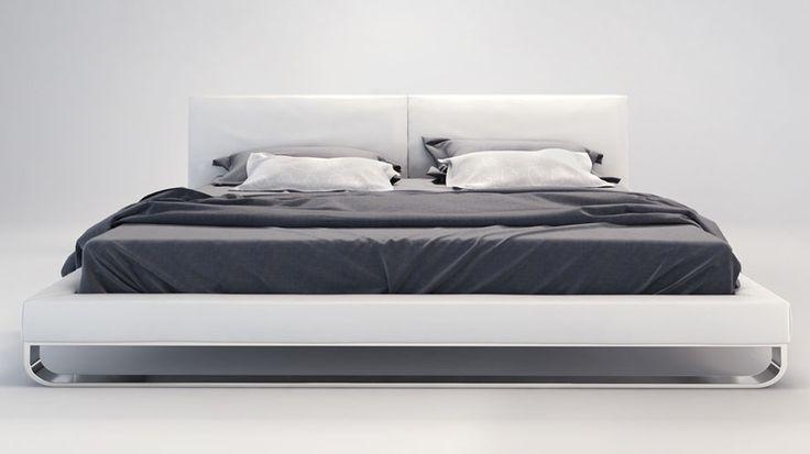 White Leather and Chrome Lucca Plaftorm Bed | Zuri Furniture #ZuriFurniture