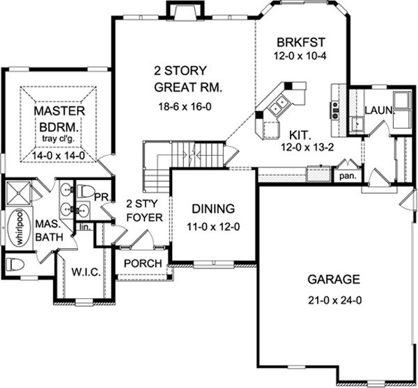 First floor plan of cape cod house plan 54027 for the for Open concept cape cod house plans
