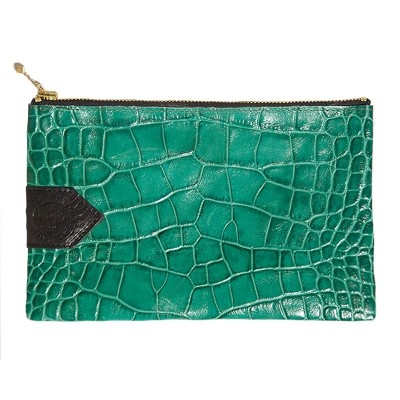 Emerald Croc Clutch - New Kid