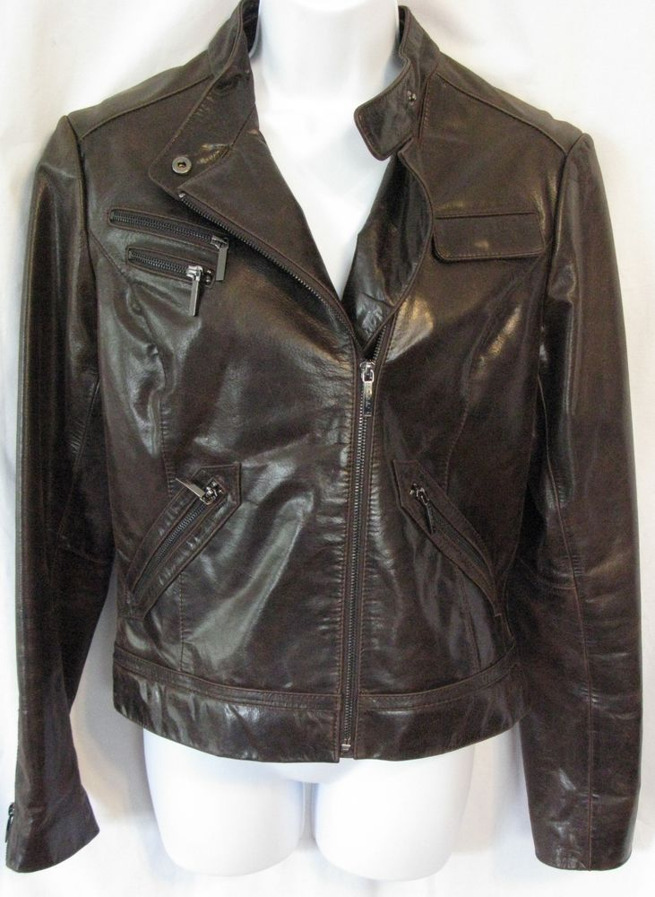 LAUNDRY BY SHELLI SEGAL Size S Dark Brown Distressed Leather Moto Jacket #Laundry #BasicJacket
