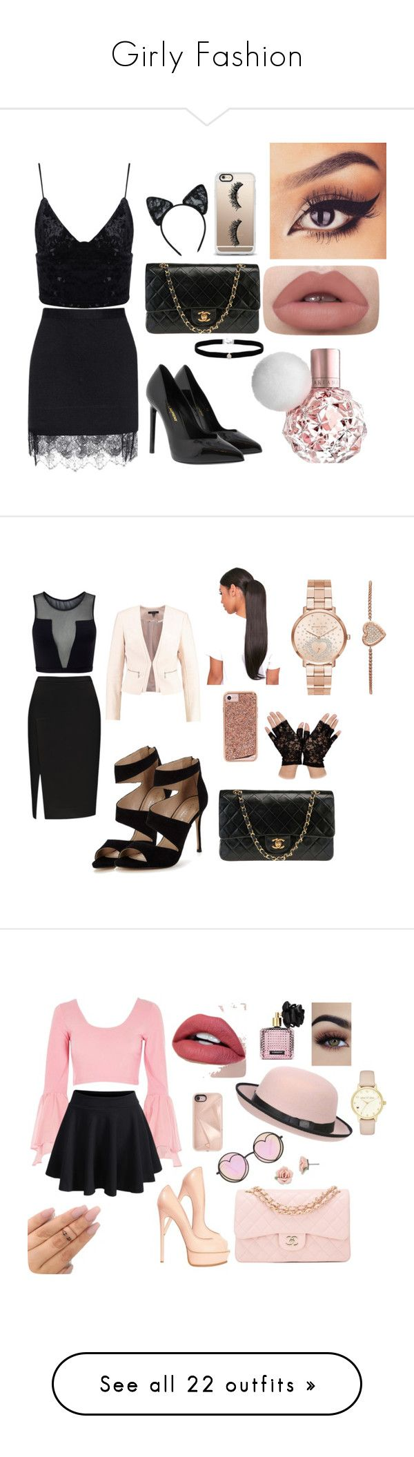 """""""Girly Fashion"""" by brauerisabelle on Polyvore featuring Carven, Yves Saint Laurent, Chanel, Maison Close, Casetify, Amanda Rose Collection, Varley, Carvela, Case-Mate and Michael Kors"""