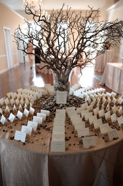 Manzanita branches for card table. Love the card set up. Maybe change stones to ivory flowers.