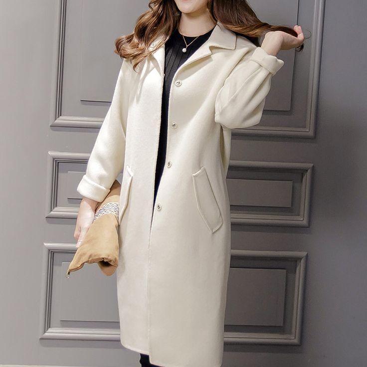 Длинный участок белый кокон стиле шерстяные пальто с длинными рукавами женщин зима с длинными рукавами 2016 студенты свободно шерстяное пальто