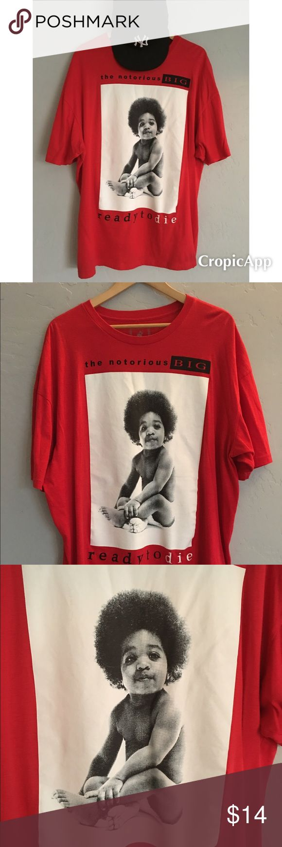 Brooklyn Mint Men's Red And Black T-Shirt Sz S PRELOVED Men's Brooklyn Mint Red Notorious Big tee size 2XL.   Great trendy Men's top.  Lots of life left. Good condition well worn shirt. No signs of damage or wear and tear. brooklyn mint Shirts Tees - Short Sleeve