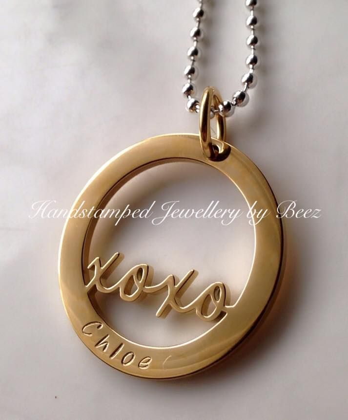 Forever XOXO Washer Pendant - Hand Stamped By Beez