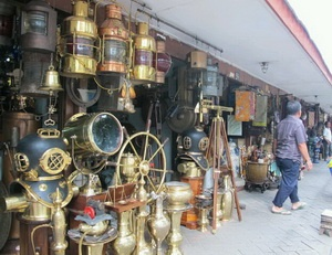 Antiques merchants in Jalan Surabaya - Jakarta, Indonesia. Instant antiques while you wait!!