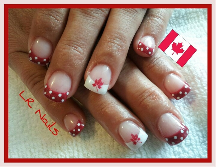 Simple Canada Day nails