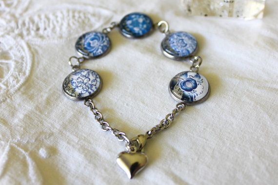 Stainless Steel Bracelet with Glass Cabochons by ALavenderBells
