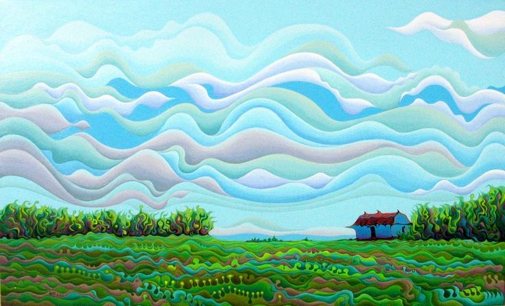 Clearing Sky Frivolution  60 x 36  Acrylic on Canvas