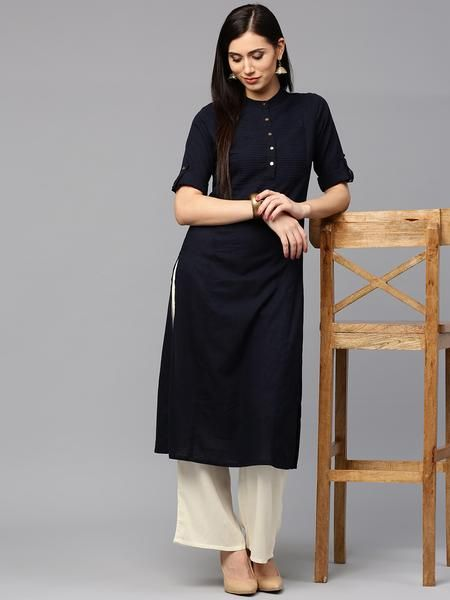 c9d88f7c21 Shop Online Palazzo Suits Mandarin Collar Style Navy & Off-White Kurti With  Plazo | Women clothing | Kurta palazzo, Kurta designs women, Palazzo suit
