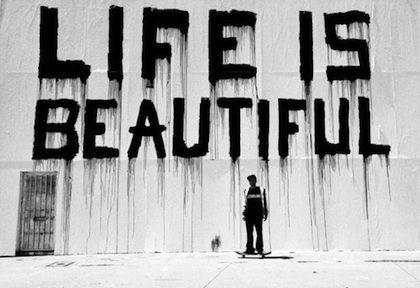 Life is beautiful: Life Is Beautiful, Lifeisbeautiful, Writing Quotes, Street Art, Black White, Inspiration Quotes, True Stories, Design Blog, Streetart