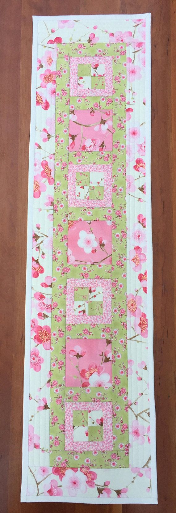 Spring Table Runner Cherry Blossoms Pink Green And Cream