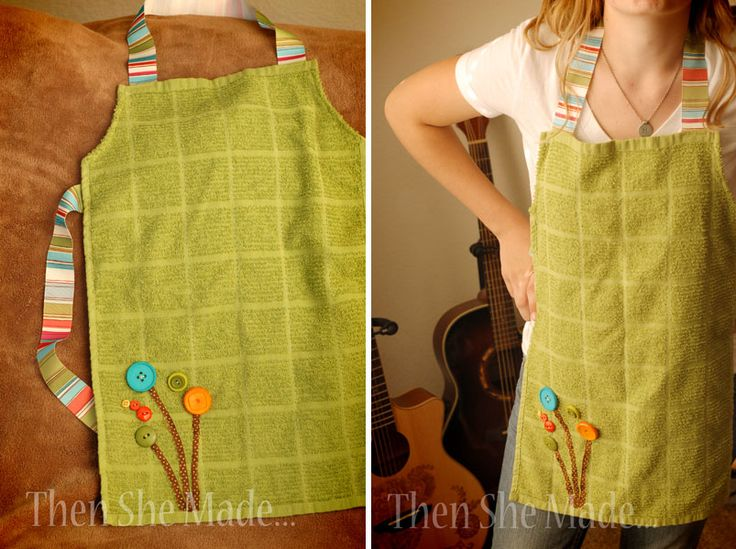 making an apron from dish towels | above to make the apron. Once its done, add some cute buttons to make ...