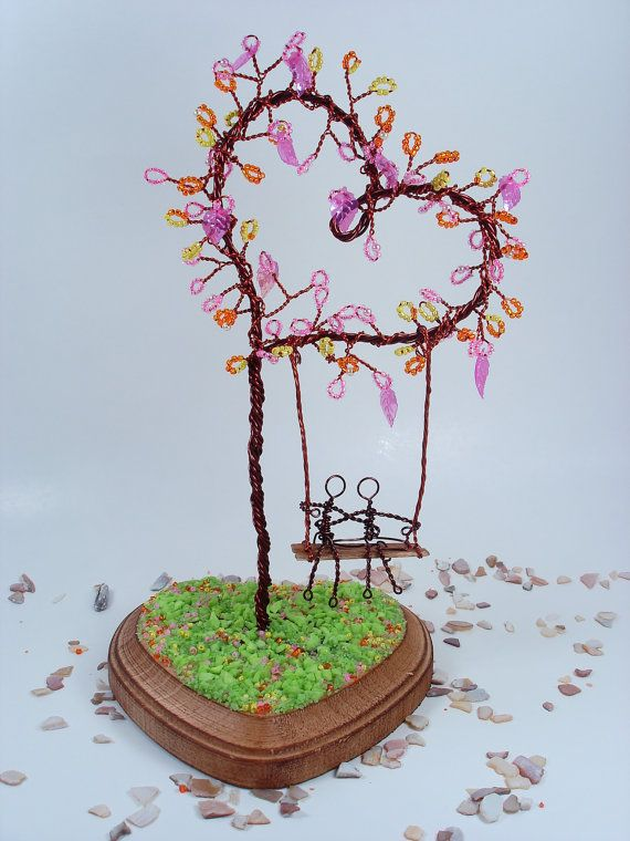 Heart Wire Sculpture Tree With Swing Couple Wedding by wireforest, $69.00