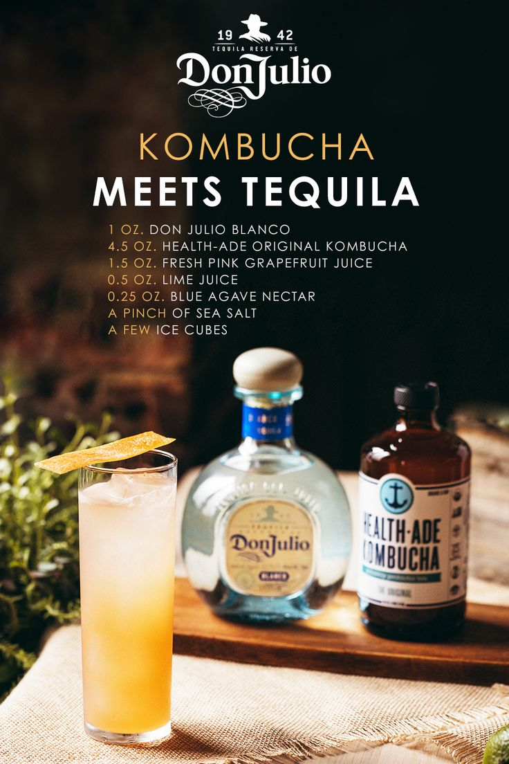 Of all of Kombucha's benefits, our favorite is the way it complements Don Julio Tequila, made with 100% Blue Agave Plant & gluten-free. For this fresh cocktail, add 1 oz. Don Julio Blanco, 1.5 oz. Fresh Pink Grapefruit Juice, 0.5 oz. Lime Juice. 0.25 oz. Blue Agave Nectar, a pinch of Sea Salt, & ice to a shaker. Shake & pour over fine strainer into Highball Glass with ice. Top with 4.5 oz. Health-Ade Original Kombucha. Express Grapefruit Zest oil on top of the drink with 3 pink sea salt…