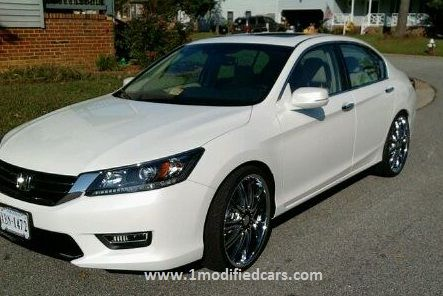 Modified 2013 Honda Accord Pearl White with 22 inches rims