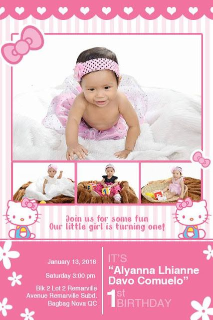 Hello Kitty Sample Invitation Design For First Birthday