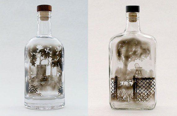Smoke Drawings In the Bottle by Jim Dingilian http://designwrld.com/smoke-drawings-by-jim-dingilian/