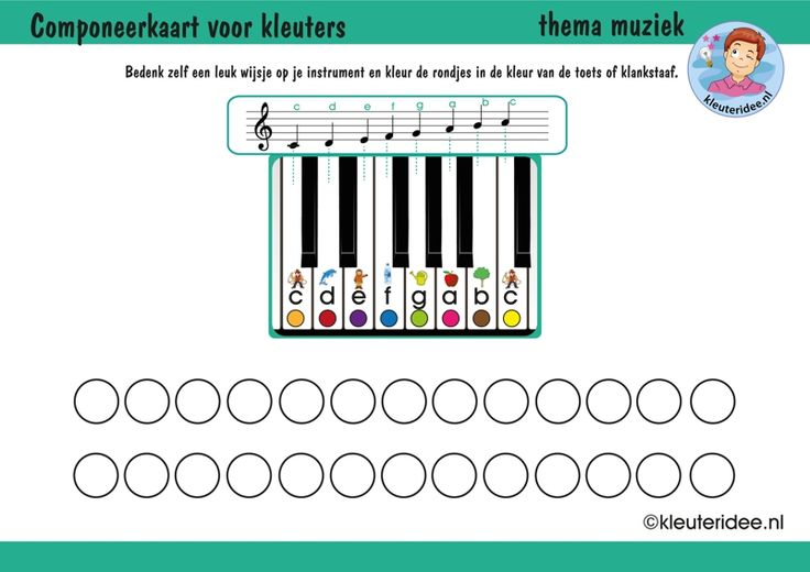 Componeerkaart voor kleuters, thema muziek, met uitbreidingen op de site, kleuteridee, free download