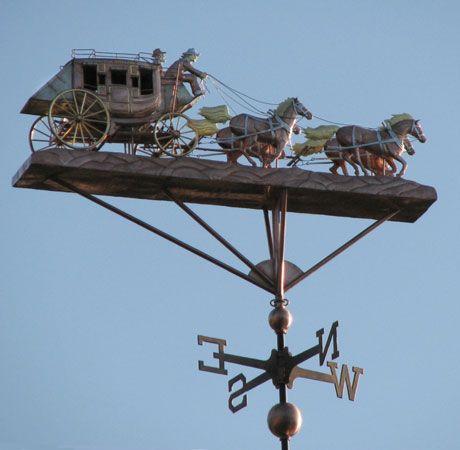 custom copper stagecoach weathervane with horses weather vaneswild - Weather Vanes