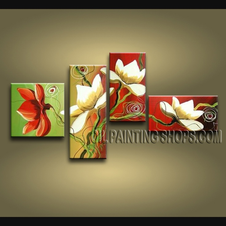 Astonishing Contemporary Wall Art Oil Painting On Canvas Panels Gallery Stretched Tulip Flower. This 4 panels canvas wall art is hand painted by Bo Yi Art Studio, instock - $138. To see more, visit OilPaintingShops.com