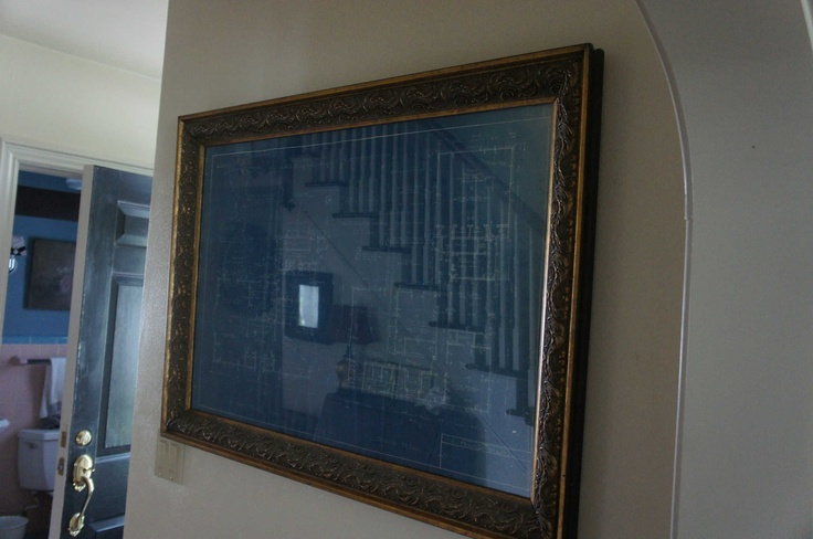 framed blueprint