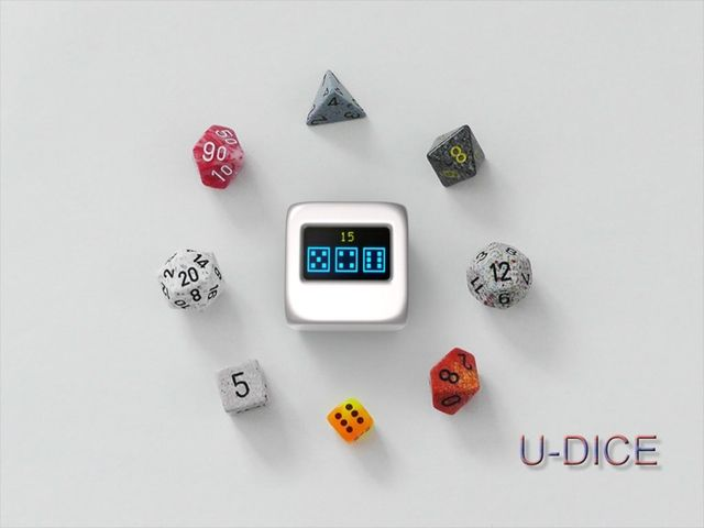 U-DICE is an universal electronic dice for any game needs 1-6 dice with each dice be any of the 4, 6, 8, 10, 12, 20 or 100 faces.