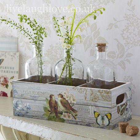 Vintage Garden Botanical Tray  3 Glass Bottles