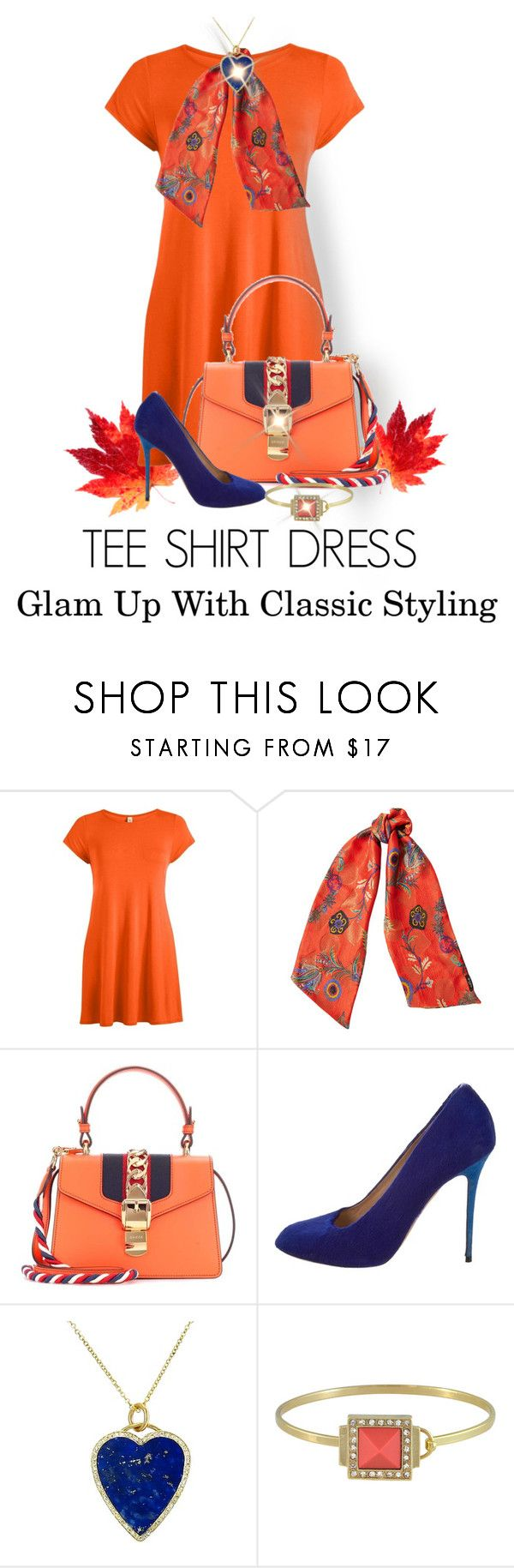 """""""Orange Tee Shirt Dtess"""" by shamrockclover ❤ liked on Polyvore featuring Etro, Gucci, CÉLINE, Jennifer Meyer Jewelry and Sequin"""