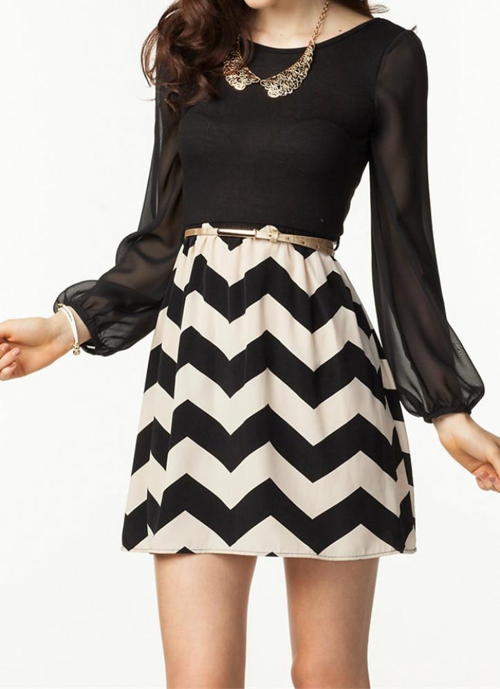 Black Little Black Dress - Black and White Chevron Dress