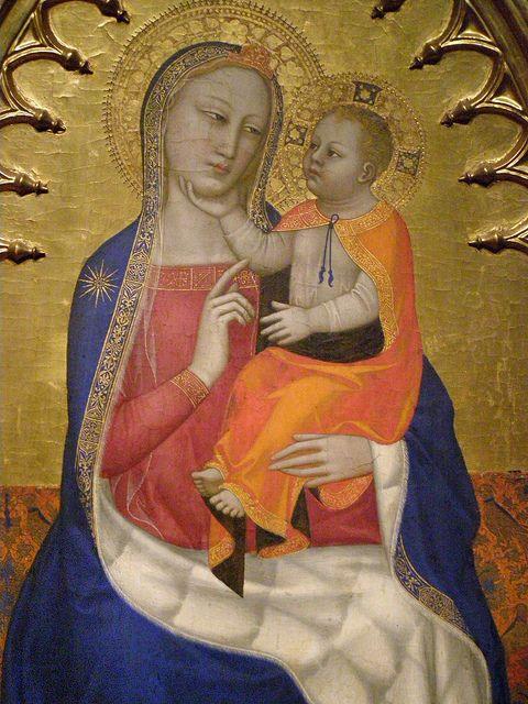 """Nardo di Cione - Vergine col Bambino, dettaglio  """"Pala di Bojnice"""" - 1340-60 - Bojnice Castle, Slovacchia"""