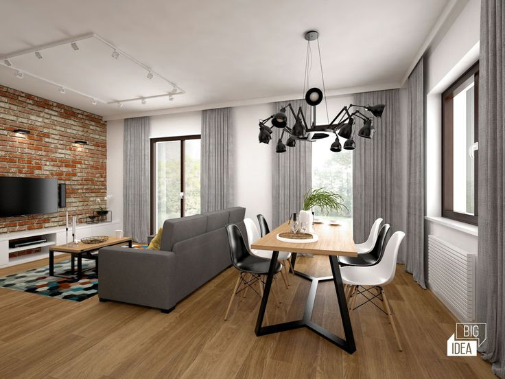 Projekt mieszkania 85m2 w Krakowie, styl eklektyczny, loftowy, wnętrze prywatne; Salon z kuchnią