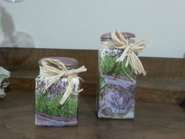 Decoupage!!!!! Two useless jars became beautiful using decoupage and some chalky paint for the tops.