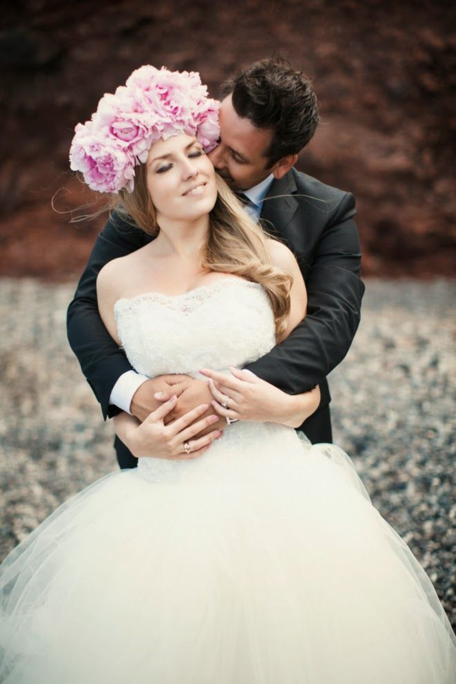 Pink Peony Hair Wreath from a Romantic Destination Wedding in Santorini, Greece