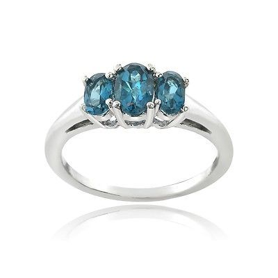 925 Silver 1.1ct London Blue Topaz 3-Stone Ring