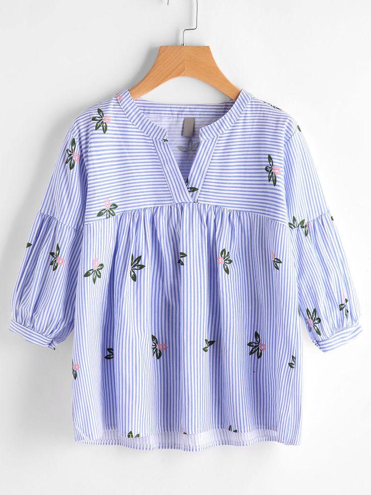 Shop V Neckline Floral Print Striped Smock Blouse online. SheIn offers V Neckline Floral Print Striped Smock Blouse & more to fit your fashionable needs.