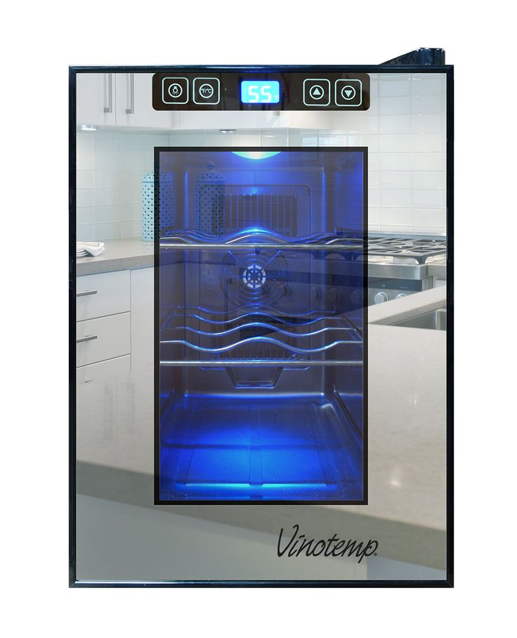 Vinotemp VT-6TSBM 6-Bottle Mirrored Thermoelectric Wine Cooler, Black