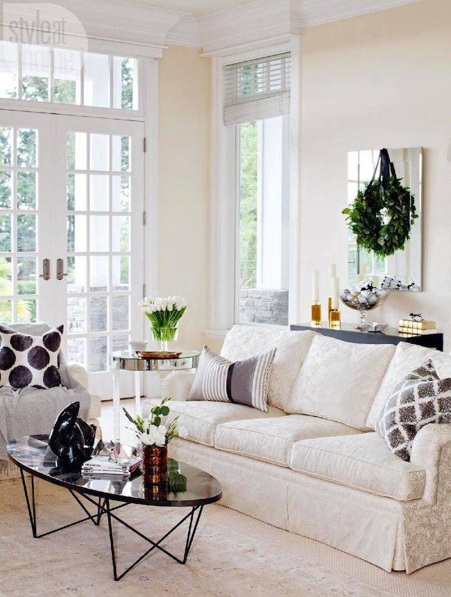 Elegant living room, decorated for Christmas