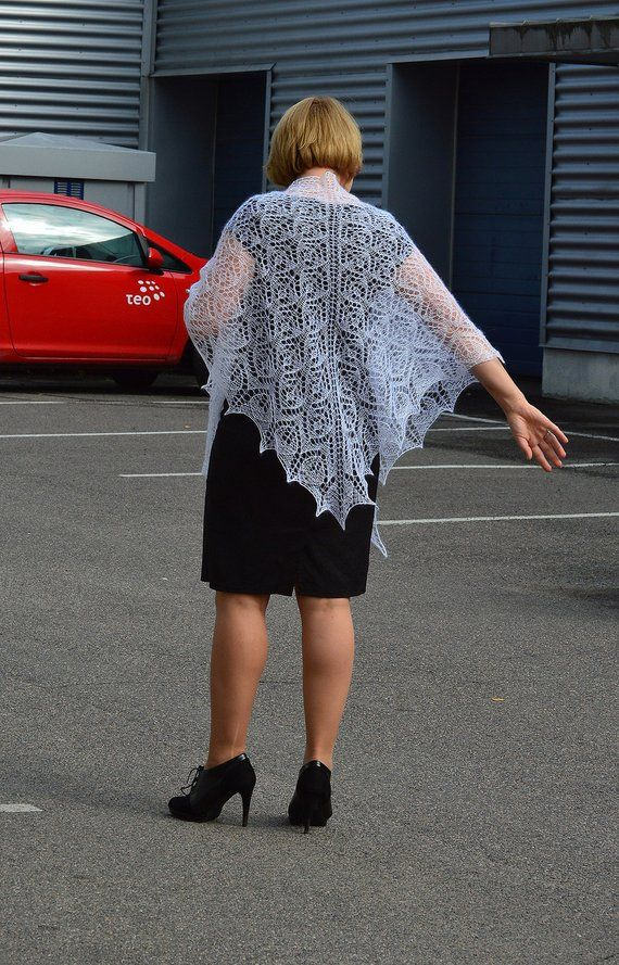 Lace shawl, wedding shawl, white handknit shawl with black beds