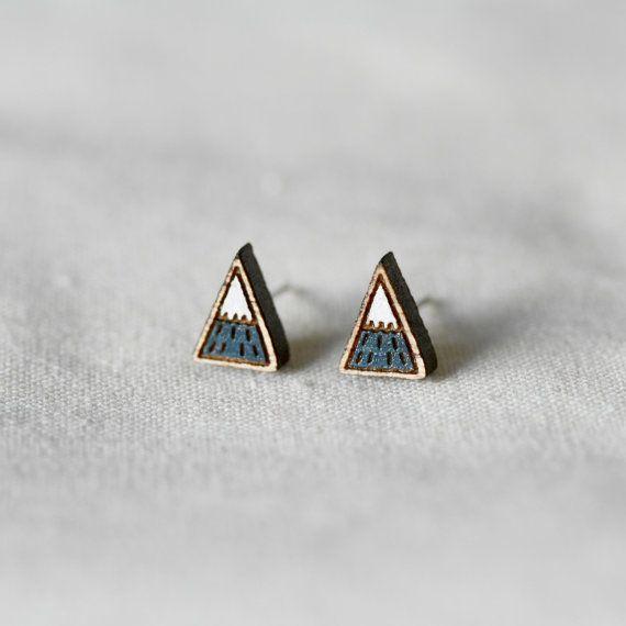 Mountain earrings made from wood by Etsy seller pannikin.