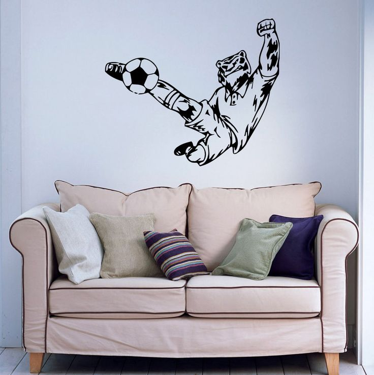 Wall Vinyl Sticker Decal Art Tiger Soccer Player Hits The