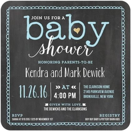 Chalked Bliss - Baby Shower Invitations - Portsmouth Card Co - Powder Blue - Blue : Front