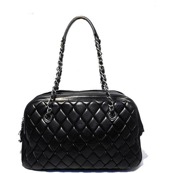Pre-Owned Chanel Black Quilted Calfskin Medium Shoulder Bag ($4,200) ❤ liked on Polyvore featuring bags, handbags, black, chanel shopper, multi color handbag, preowned handbags, shoulder handbags and shoulder bag purse