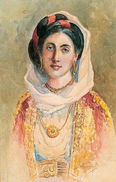 Βικέντιος Μποκατσιάμπης (1856-1932) Κοπέλα με γιορτινή φορεσιά της Κέρκυρας υδατόχρωμα σε χαρτί, 43 × 28 εκ. Συλλογή Έργων Τέχνης της Βουλής των Ελλήνων