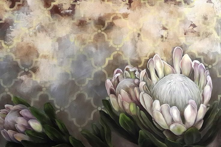 White proteas on textured background  www.christellepretoriusart.co.za