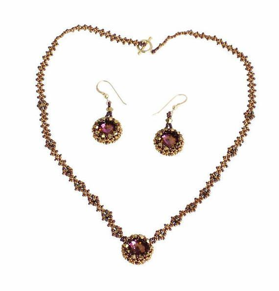 Bronze and Purple Jewellery Set 8th Anniversary Gift for Her