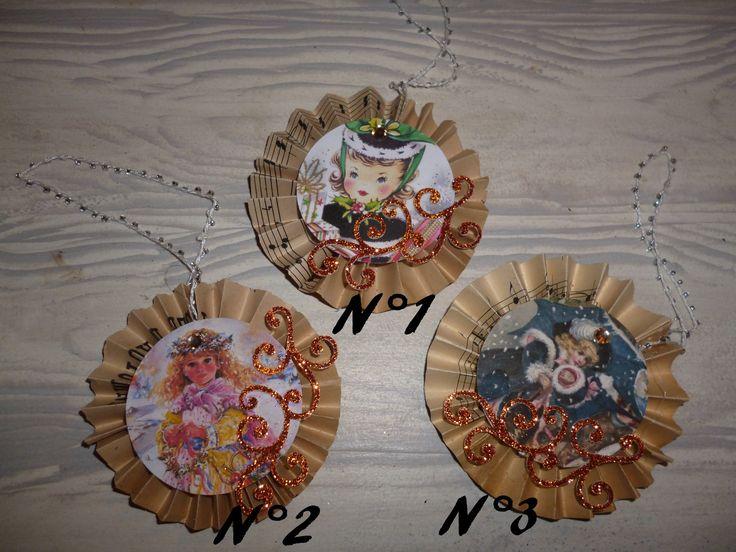 """Décos pour sapin """"Il était une fois Noël"""" Medaillons en papier ancien.. : Accessoires de maison par marie-kartone"""