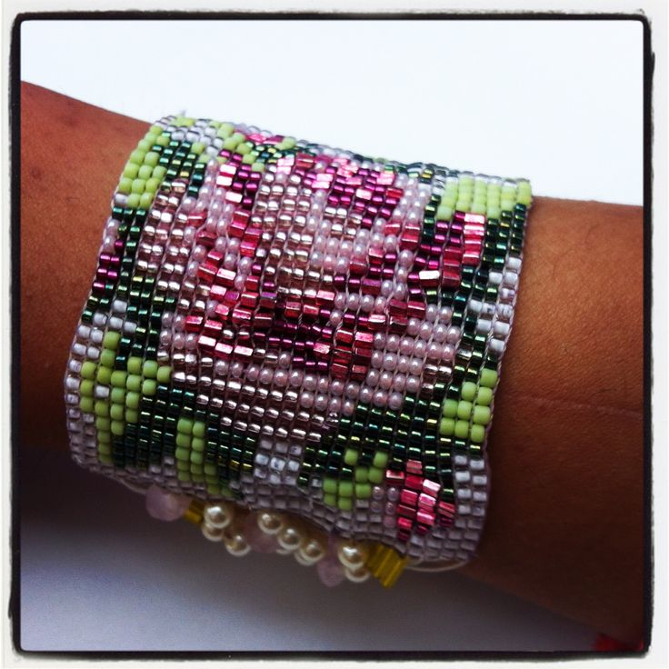 Bohemian Beaded Statement Bracelet! by: http://www.tiffydesigns.com #statement #bracelet #beaded #bead #bead loom #boho chic #bohemian #rose #jewelry #accessories #bead work #jewellery